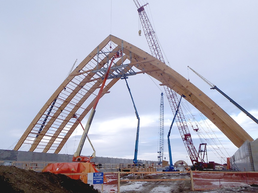 K+S interior potash storage facility engineering being built crane operations