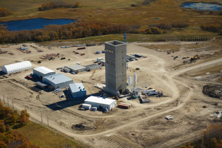 aerial view Rocanville potash mine Headframe foundation pile caps