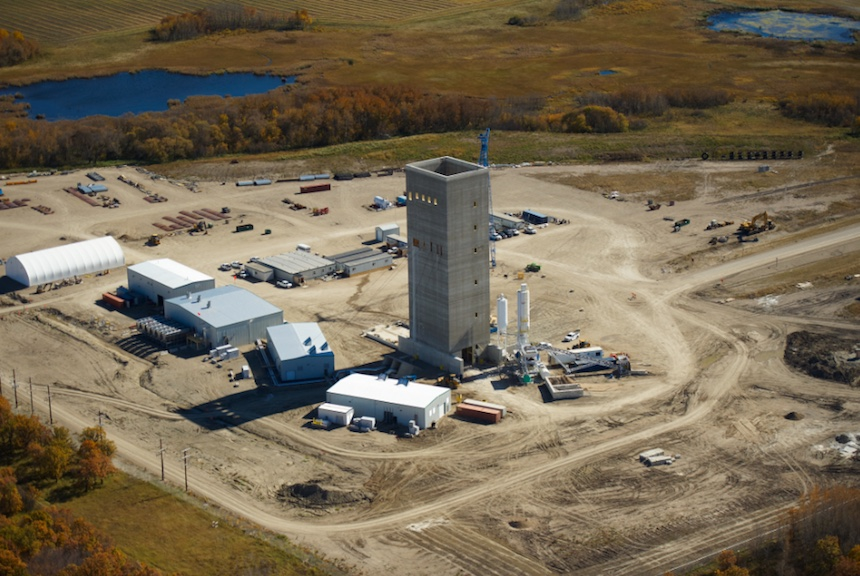 aerial view Rocanville potash mine Headframe foundation pile caps Ag-Industrial Bulk material handling Mining Potash Scissors Creek Slipform Headframe Collar walls Air tunnel Slipform concrete mine
