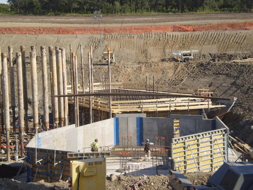 Rocanville potash mine Headframe foundation pile caps