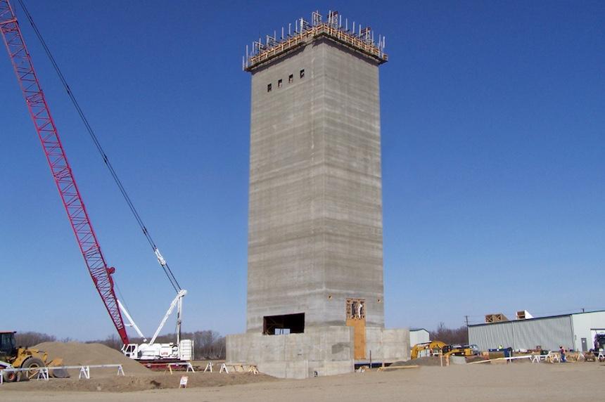 Rocanville potash mine Headframe foundation pile caps tower